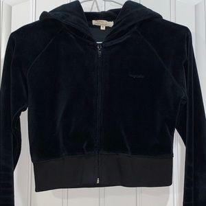 Crop velour hoodie